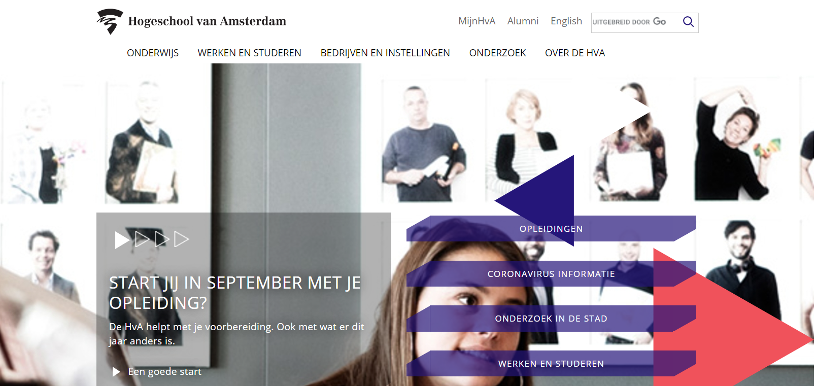 Hogeschool van Amsterdam screenshot website
